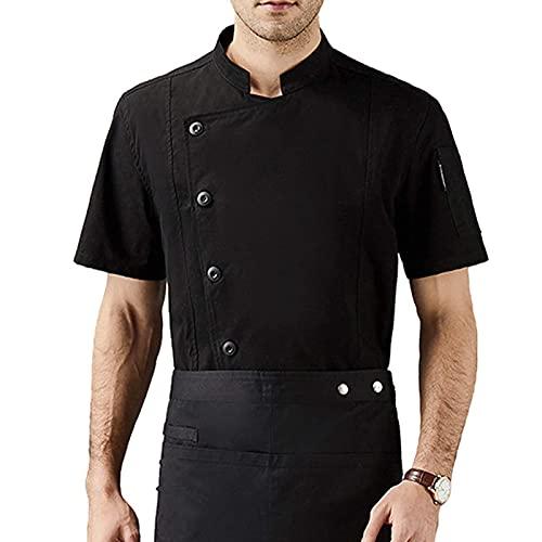 GAOSHENGWUJINGD Chef Coat Men Women Short Sleeve Restaurant Chef Kitchen Work Uniforms Double Breasted Sushi Bakery Cafe Waiter Catering Service Jackets (Color : Black, Size : D(2XL))