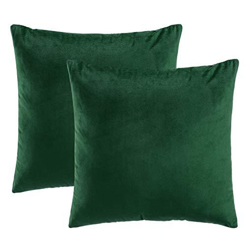 eletecpro Kissenbezug 40x40cm, 2er Set Samt Kissenhülle mit Verstecktem Reißverschluss, Grün Dekorative Kissenbezüg für Sofa und Terrasse Büro in großer Farb- Größenauswahl