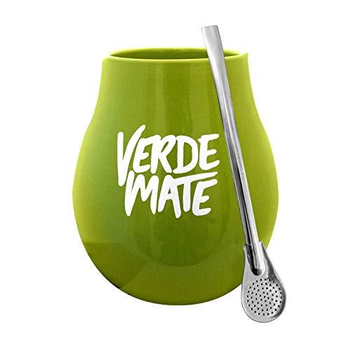Mate Becher Keramik Grün Verde + Bombilla Edelstahl Set Mate Tee