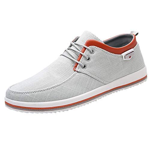 feiXIANG Bootschuhe Herren Sneaker Sportschuhe Business Casual Freizeitschuhe Laufschuhe Walkingschuhe Berufsschuhe (Grau,46)