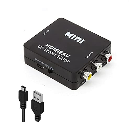 Benac - Adaptador RCA a HDMI, convertidor AV a HDMI, convertidor de vídeo 1080P Mini RCA Composite CVBS adaptador compatible PAL/NTSC con USB para PC portátil Xbox PS4 PS3 TV STB VHS VCR cámara DVD