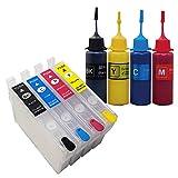 3年保証 エプソン 互換 【 IC74 / IC4CL74 / IC76 / IC4CL76 】詰め替え 用 カートリッジ (スケルトン タイプ・ 自動リセットチップ 付き)+ 互換 顔料インク 4色 セット(純正の約4倍) ベルカラー製