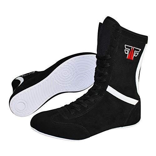 FOX-FIGHT Boxstiefel aus Echtem Leder Professionelle Hochwertige Qualität Boxen Boxing Schuhe Boxschuhe Box Hog Boots (Schwarz, 44)