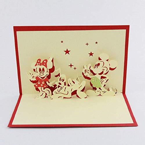 BC Worldwide Ltd handgemachte 3D Pop-up Geburtstag Karte Origami Kirigami Papier Handwerk Disney Mickey Maus Minnie Pluto Cartoon Kind Kind glücklich Gruß Liebe Familie