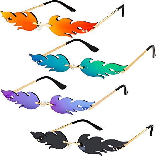 4 Pairs Fire Flame Sunglasses Rimless Fire Shaped Glasses (Red, Purple, Gray and Green)