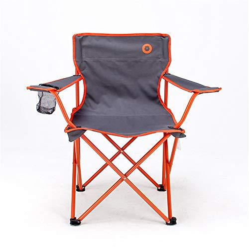 Ergonomische hoge rugleuning met draagtas, klapstoel voor outdoor, gevoerde armleuning, bekerhouder. oranje