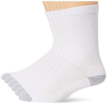 Hanes Ultimate Men s 6-Pack X-Temp Crew Socks white/gray Heel toe 10-13  Shoe size 6-12