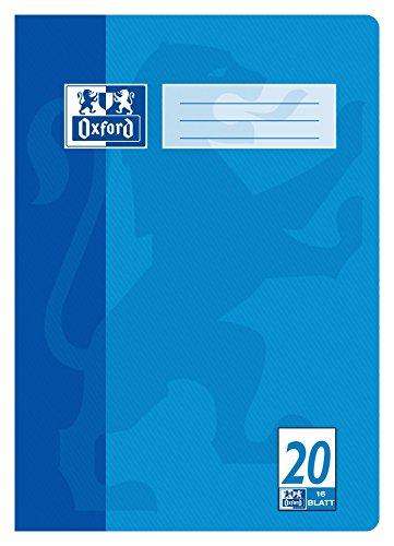 "OXFORD 100050306 \""Schule\"" Schulheft | 1 Stück | A4 | 16 Blatt | 90 g/m² | Lineatur 20 - blanko | blau"