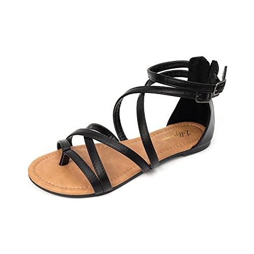 LUFFYMOMO Women's Gladiator Strap Sandals Flat Fisherman Thong Cross Strappy Sandals(7 M US BLACK)