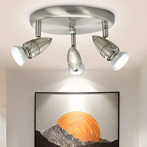 DLLT Semi Flush Mount Ceiling Light, 3-Light Multi-Directional Ceiling Track Lighting, LED Ceiling Spot Lights Fixtures with GU10 Bulbs for Kitchen Basement Bedroom Hallway, Warm White Nickel Steel