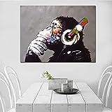 Danjiao Mono Abstracto Escuchando Música Pensando Pintura Al Óleo Colorida Sobre Lienzo Póster E Impresión Cuadro De Arte De Pared Decoración Del Hogar Cuadros Sala De Estar Decor 60x90cm