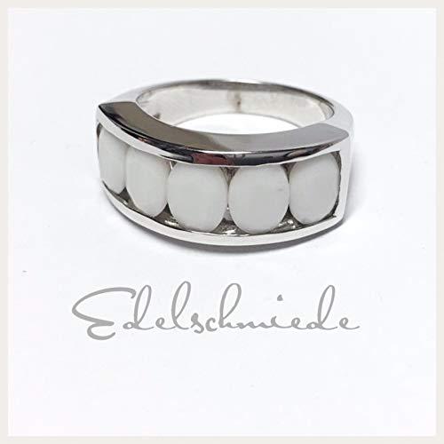 moderner Silberring 925/- Sterling Silber rhod mit weißen Zirkonias #56
