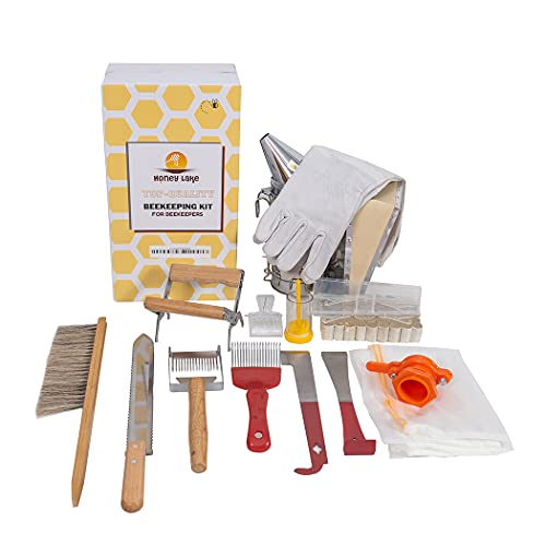 Honey Lake Beekeeping Supplies Bee Smoker Starter Kit,16 Pcs Beekeeping Kit Bee Keeping Supplies-All Beginners Kit Including Bee Smoker and Different Kinds of Beekeeping Tools