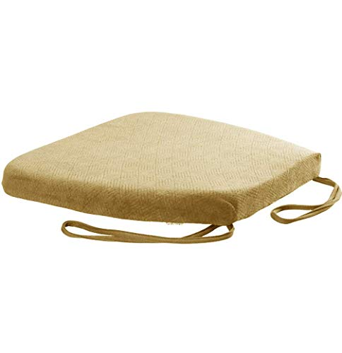 YLLN Padded Cushion Chair Seat Pads Chair Seat Cushion Pads with Straps for Indoor Outdoor Garden Office Living Room (Yellow,40 x 42 x 4cm)