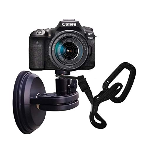 "NUNET Suction Cup Mount for Heavy Duty DSLR/NuCam WR/Gopro, Strong 5"" Diameter Suction Base ABS, Perfect for Car/Boat/Windshield/Window, Aluminum with 360° Camera Rotation Ball Head with Safety Tether"
