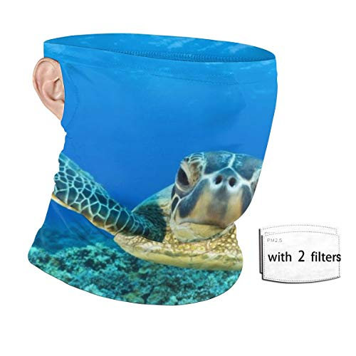 Sea Turtle (2) Unisex Neck Gaiter With Safety Carbon Filters Face Mask Hanging Ear Dust Proof Windproof Sunscreen Bandana For Sport Outdoor