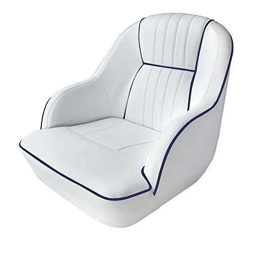 Leadpro Pontoon Captains Bucket Boat Seat Boat Chair (White w/Blue Piping)