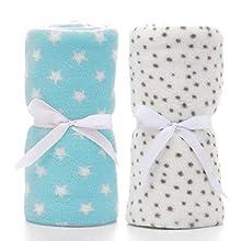 LeerKing Paquete de 2 Manta Polar para Bebes Recien Nacidos con Patrón de Manchas y Estrellas para Niña y Niño 75 * 100CM, Blanco & Azul