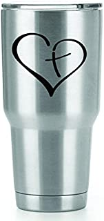 Heart Cross Vinyl Decals Stickers (2 Pack!!!)   Yeti Tumbler Cup Ozark Trail RTIC Orca   Decals Only! Cup not Included!   2-3 X 3 inch Black Decals   KCD1116