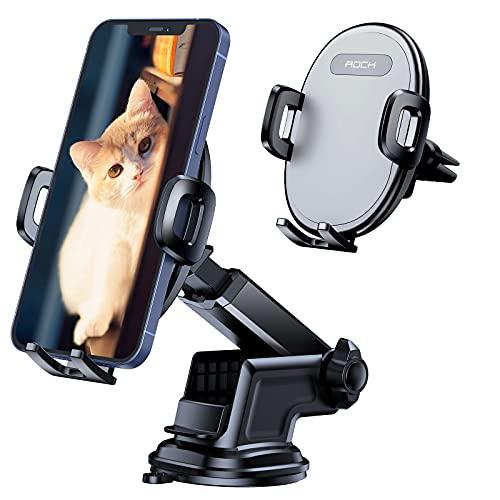 Soporte Móvil para Coche, ROCK 3 en 1 Sujeta Móvil Coche para Parabrisas y Salpicadero y Rejilla del Aire Ventilación, Compatible con Todos Los Teléfonos Inteligentes y GPS de 4-7