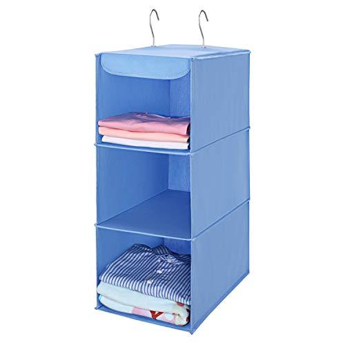 MaidMAX Hängeaufbewahrung mit 3 Fächern, Kleiderschrank Organizer, Hängender Stoffschrank mit Eisengestell, faltbares Hängeregal, Aufbewahrungssystem für Kleidung -Blau