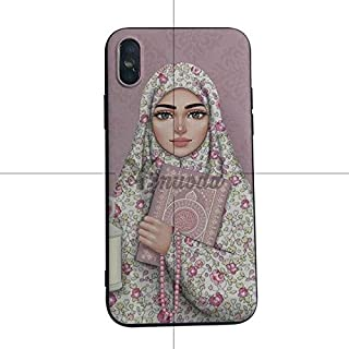 MISC Clear Islamic Worshipper iPhone XR Case Arabic Worships Cover Prays Quran Religious Book Prayer Beads Beautiful Eyes Face Hijab Beauty Rose Bud Pattern Pink, Silicone