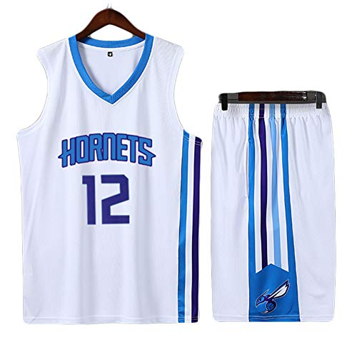 REDLIFE Basketball Trikot, Dwight Howard Charlotte Hornets # 12, Männer Frauen Kinder-White-XXXL