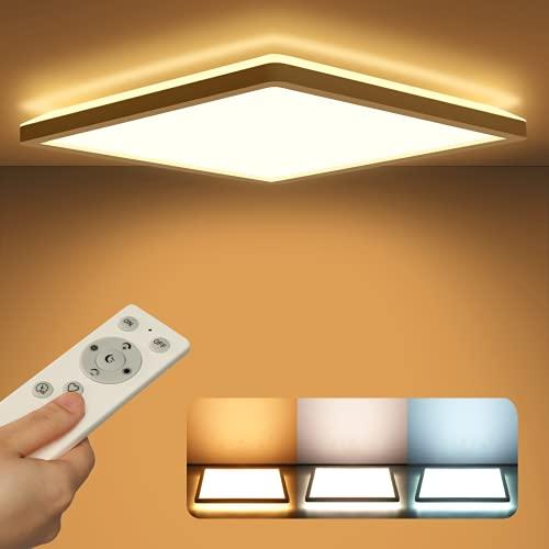 Lámpara LED de techo con panel regulable con mando a distancia, lámpara de techo plana de 24 W, 2400 lúmenes, IP44, ultrafina,color blanco para dormitorio, baño, habitación de los niños o pasillo