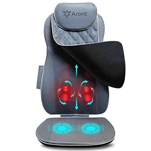 Aront Massagesizauflage Shiatsu Massagematte mit Wärmefunktion,Vibrations Massagesessel mit Fernbedienung für Schulter Rücken und Nacken,Elektrisch Massagegerät für Haus/Büro/Auto