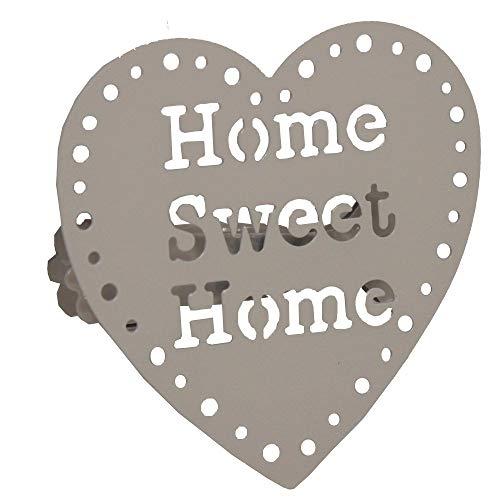 Embrasses, Pinces à Rideaux décoration ou voilages, en métal, modèle Home Sweet Home, Couleur Taupe, 2 pièces
