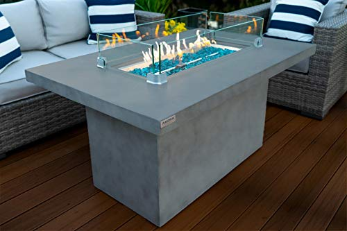 AKOYA Outdoor Essentials 50' Rectangular Concrete Chat Fire Pit Table w/Glass Guard and Crystals in Gray (50' Rectangular Gray, Caribbean Blue)
