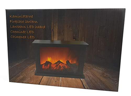 Kaminlaterne 30 cm mit tanzenden LED Flammen - Kaminfeuer LED Flammeneffekt LED Kamin Feuer Laterne