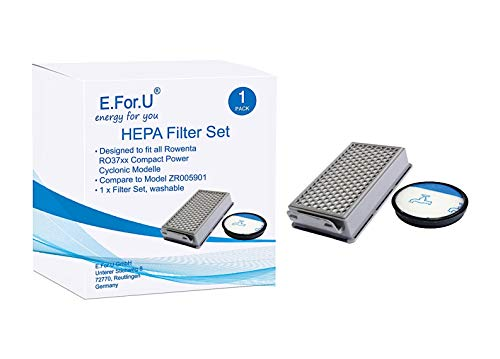 E.For.U Kit de filtres pour les aspirateurs Rowenta RO3731EA/ Moulinex/Tefal Compact Power Cyclonic (alternative à ZR005901)