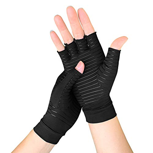 Meccus Copper Arthritis Gloves for Women/Men, Compression Gloves for Rheumatoid & Carpal Tunnel Pain & Muscle Tension Relief, Fingerless Gloves for Computer Typing and Daily Work (S)