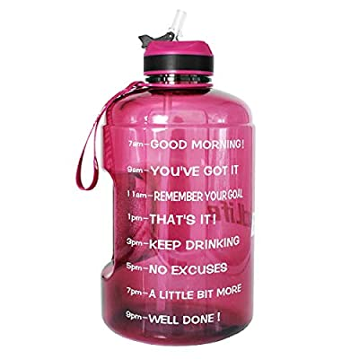 QuiFit Gallon/128 oz Water Bottle with Straw and Motivational Time Marker BPA Free Easy Sipping Large Reusable Sport Water Jug for Fitness and Outdoor Enthusiasts (Bright purple,1 gallon)