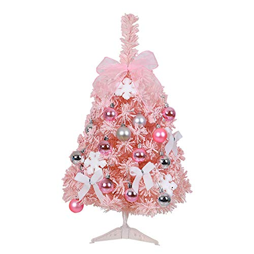 Wyi 2ft Pink Artificial Christmas Tree Prelit Mini Tabletop Christmas Tree with LED Lights and Stand Flocked Artificial Christmas Pine Tree for Table Home Party Decoration