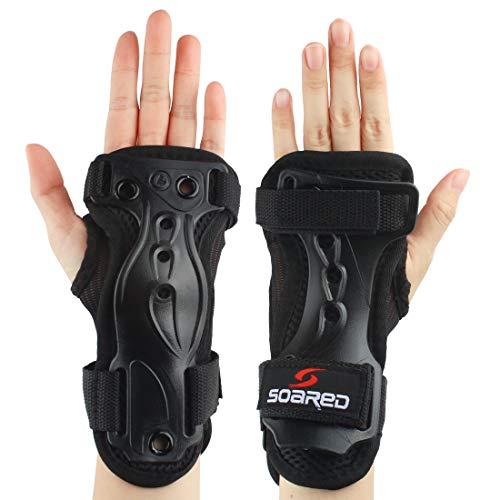 Andux Ski Gloves Extended Wrist Palms Protection Roller Skating Hard Gauntlets Adjustable Skateboard Gauntlets Support HXHW-01 (XL)