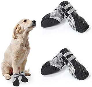 No-Branded EACHPT 4PCS Zapatos para Perros Antideslizantes Respirable Protectores Patas para Perro Botas Perros Impermeables con Correas Reflectantes Adhesiva para Cachorros pequeños y medianos