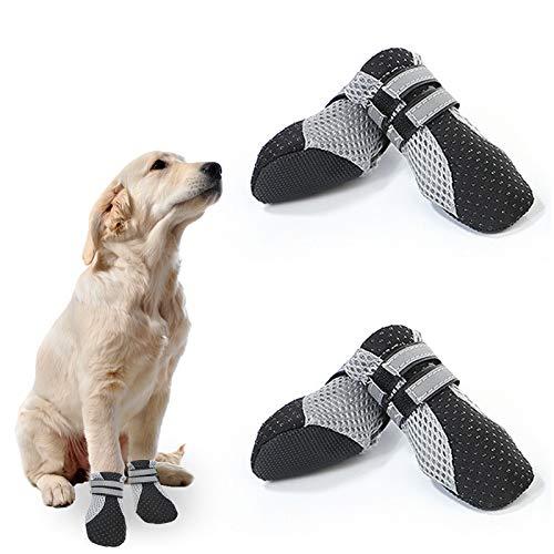 EACHPT 4PCS Hundeschuhe Pfotenschutz Wasserdicht Schutzstiefel für Hunde mit Anti-Rutsch Sohle, Klettverschluss Reflektierendem Riemen Atmungsaktiv Schneeschuhe für Welpen kleine mittlere Hunde