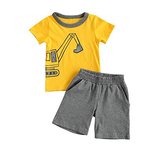Carolilly 2Pz Tuta da Bambino Casual Maglietta Estiva a Maniche Corte Stampata a Fumetti + Pantaloncini Set di Pigiama in Cotone (Escavatore Giallo, 3-4 Anni)