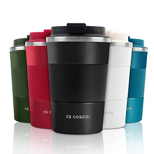 CS COSDDI Thermobecher- Isolierbecher, Edelstahl Travel Mug,13oz/380ml Vakuum auslaufsicher Reisebecher mit Deckel, Autobecher, doppelwandig isoliert für Kaffee, Wasser, Kaffee-to-go Becher (Black-A)