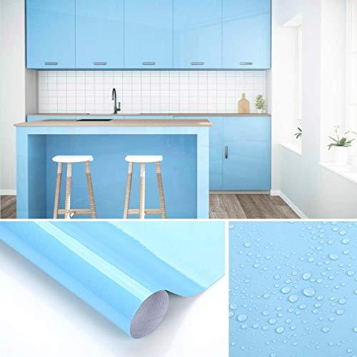 KINLO Papel de Cocina Azul 60x500cm de PVC Adhesivo para Armario Cocina Papel Adhesivo para Muebles Papel Impermeable Autoadhesivo para Armario de Cocina Papel Decorativo con Brillo