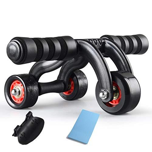 QGPWHLS 3-Rad Power Wheel Triple AB Roller Bauch Bauch Bauchmuskeltraining Fitnessgerät Fitnessstudio Knieschoner Stretch Bauchwiderstand Seil Werkzeug