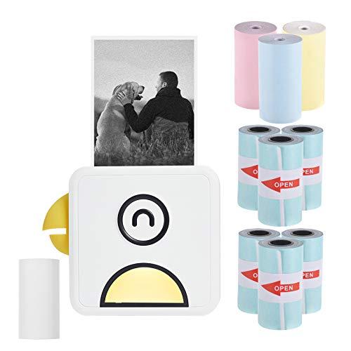 Aibecy mini stampante termica, Stampante fotografica 200 dpi portatile BT Wireless Etichetta adesiva per ricevute compatibile con smartphone Android iOS Poooli L1, con 10 rotoli di carta termica