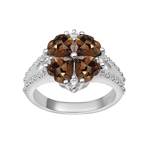 Shine Jewel Multi Elija su Piedra Preciosa Anillo de racimo de Plata de Ley 925 en Forma de corazón de 5 mm de Cuatro Piedras (12, Ahumado)