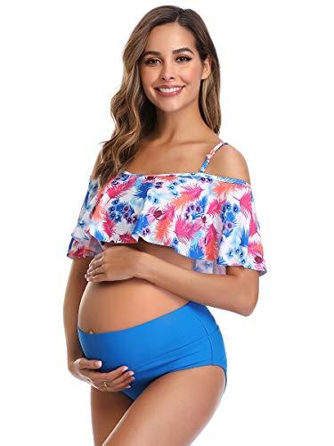 Damen Umstands-Bikini, Volant, bedruckt, hohe Taille, zweiteiliger Badeanzug - Blau - X-Large