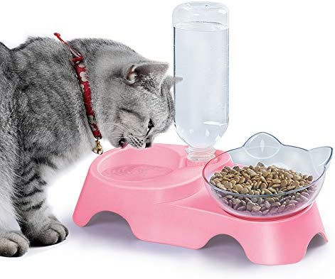 MILIFUN Double Dog Cat Bowls Pets Food and Water Bowl Set Cat Bowls Elevated Cat Food Bowl with product image