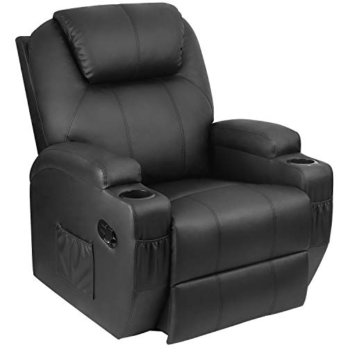 Pawnova PA-SPS9M0BK PU Leather Chair with Massage Function, Adjustable Home Theater Single Recliner Thick Seat and Backrest, 360°Swivel and Rocking Sofa for Living Room, Black