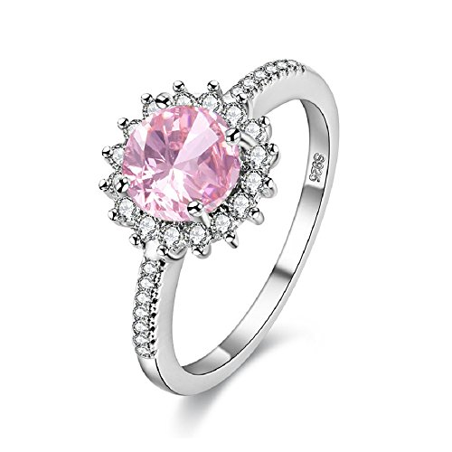 Uloveido Unique Petite Simulated Pink Diamond Halo Ring Sunflower Wedding Gifts for Women Girls Y3522 (Pink, Size Q)