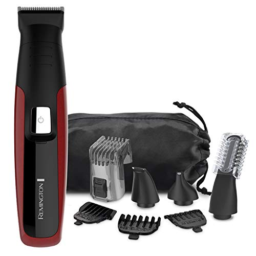 Remington PG6155C All-In-One + Body Multigroomer (10 Pieces), Full Size Trimmer, Black Red, Set